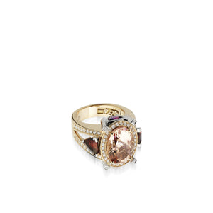 18 karat rose and white gold Signature Morganite Ring