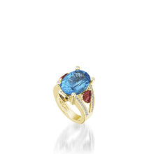 Load image into Gallery viewer, 18 karat white gold Signature Blue Topaz Ring