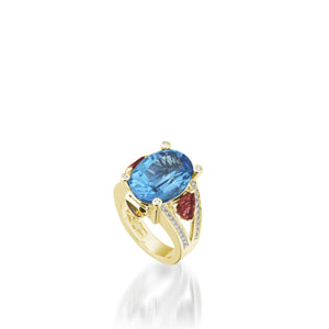18 karat white gold Signature Blue Topaz Ring