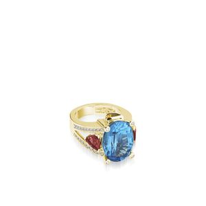 Signature Blue Topaz and Rhodolite Garnet Diamond Ring