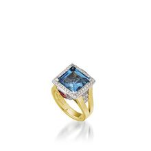 Load image into Gallery viewer, Women's 18 karat rose and white gold Signature London Blue Topaz Ring