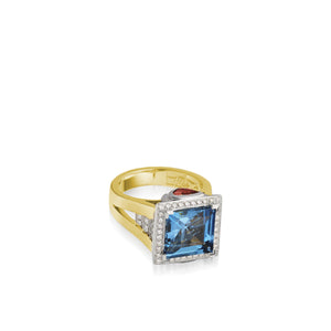 Signature London Blue Topaz Diamond Ring