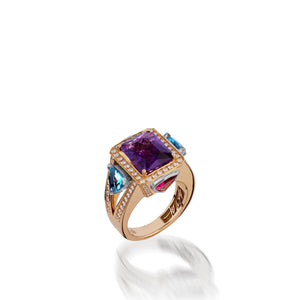 Signature Amethyst and Blue Topaz ring with Diamond Pave