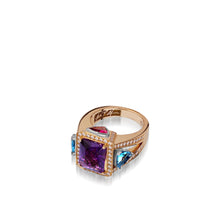 Load image into Gallery viewer, Signature Amethyst and Blue Topaz ring with Diamond Pave