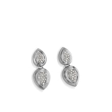 Load image into Gallery viewer, Women's 14 karat White Gold Gemini Pave Diamond Dangle Earrings