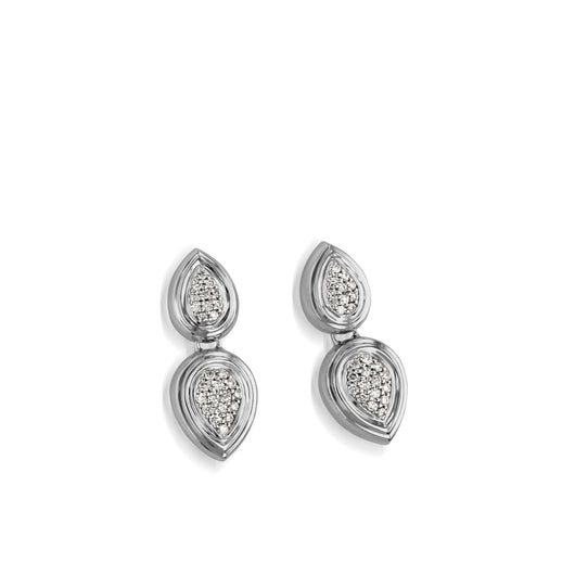 Women's 14 karat White Gold Gemini Pave Diamond Dangle Earrings