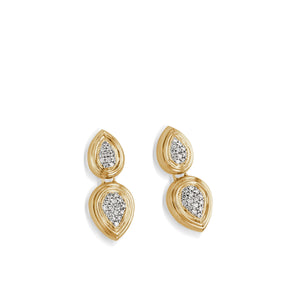 Women's 14 karat Yellow Gold Gemini Pave Diamond Dangle Earrings