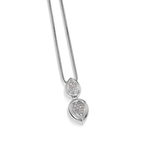 Women's 14 karat White Gold Gemini Pave Diamond Pendant Necklace