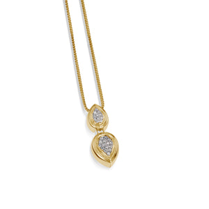 Women's 14 karat Yellow Gold Gemini Pave Diamond Pendant Necklace
