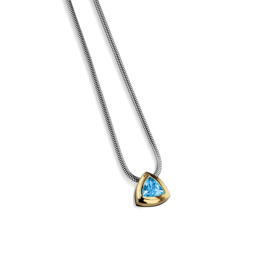Women's Sterling Silver and 14 karat Yellow Gold Arrivo Blue Topaz Solitaire Pendant
