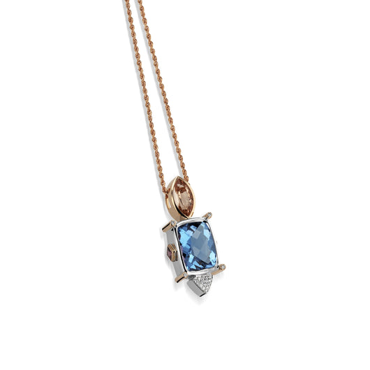 Women's 18 karat white and rose Signature Blue Topaz Pendant