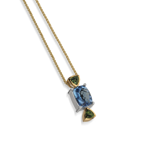 Women's 18 karat yellow Signature Blue Topaz Pendant