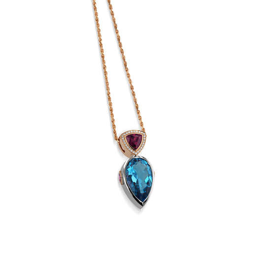 Signature Blue Topaz and Diamond Pendant Necklace with Rhodolite Garnet