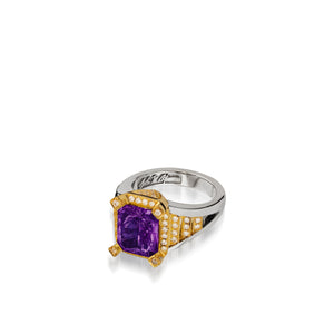 Signature Amethyst ring with Diamond Pave