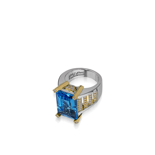 Signature Blue Topaz ring with Diamond Pave