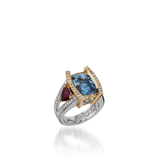 Women's 18 karat white and rose gold Signature Blue Topaz Ring