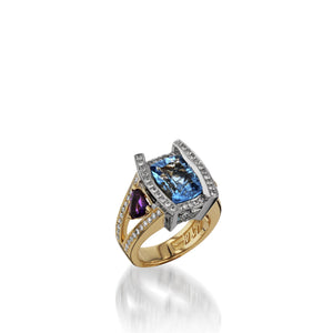Women's 18 karat yellow and white gold Signature Blue Topaz Ring