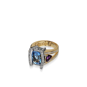 Signature Blue Topaz Yellow and White Gold Diamond Ring with Rhodolite Garnet