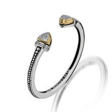 Load image into Gallery viewer, Women's Sterling Silver and 14-karat yellow gold Arrivo Pave Cuff