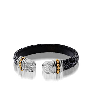 Apollo Black Shagreen Cuff with Pave Diamonds