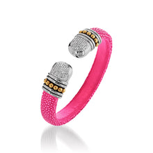 Load image into Gallery viewer, Apollo Pink Shagreen Cuff with Pave Diamonds