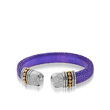 Load image into Gallery viewer, Apollo Purple Shagreen Cuff with Pave Diamonds