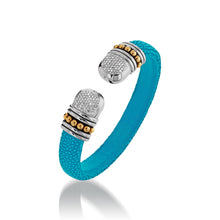 Load image into Gallery viewer, Apollo Teal Shagreen Cuff with Pave Diamonds