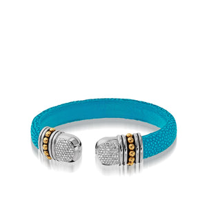 Apollo Teal Shagreen Cuff with Pave Diamonds