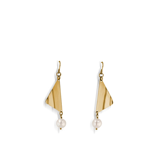 Women's Hand-Forged in 14 karat Yellow Gold Sails Dangle Earrings