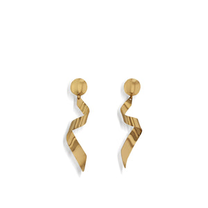 Women's Hand-Forged in 14 karat Yellow Gold Streamers Dangle Earrings