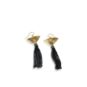 Women's Hand-Forged in 14 karat Yellow Gold Tassles Dangle Earrings