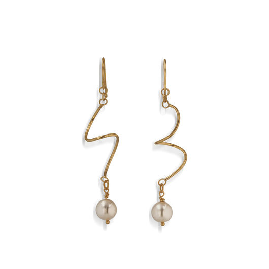 Women's Hand-Forged in 14 karat Yellow Gold Spirals Dangle Earrings