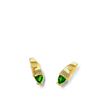 Load image into Gallery viewer, Women's 14 karat Yellow Gold Parallel Chrome Diopside Drop Earrings with Pave Diamonds