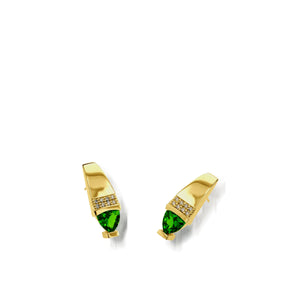 Women's 14 karat Yellow Gold Parallel Chrome Diopside Drop Earrings with Pave Diamonds