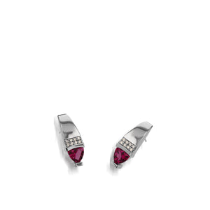 Women's 14 karat White Gold Parallel Rhodolite Garnet Drop Earrings with Pave Diamonds
