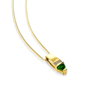 Women's 14 karat Yellow Gold Parallel Chrome Diopside Pendant Necklace with Pave Diamonds