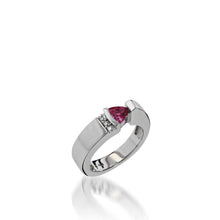 Load image into Gallery viewer, Women's 14 karat White Gold Parallel Small Rhodolite Garnet Ring with Pave Diamonds