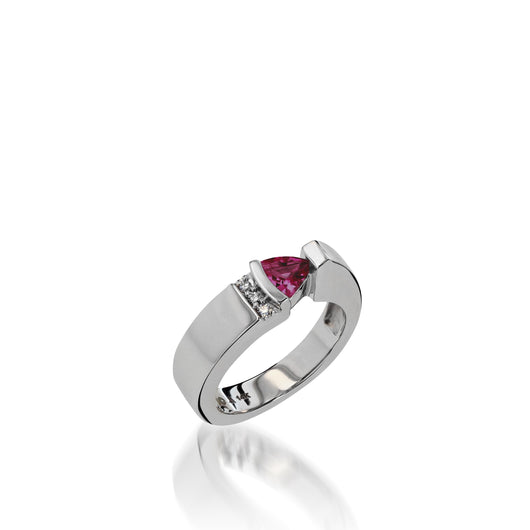 Women's 14 karat White Gold Parallel Small Rhodolite Garnet Ring with Pave Diamonds