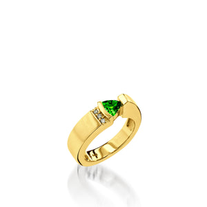 Women's 14 karat Yellow Gold Parallel Small Chrome Diopside Ring with Pave Diamonds
