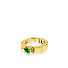 Load image into Gallery viewer, Women's 14 karat Yellow Gold Parallel Small Chrome Diopside Ring with Pave Diamonds