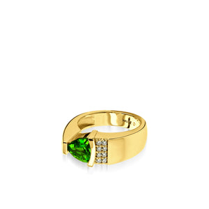 Women's 14 karat yellow gold Parallel Chrome Diopside Ring with Pave Diamonds