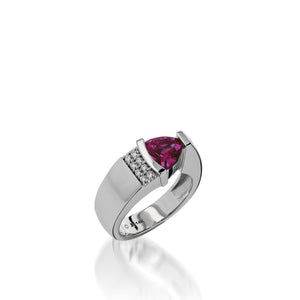 Women's 14 karat white gold Parallel Rhodolite Garnet Ring with Pave Diamonds