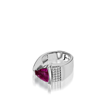 Load image into Gallery viewer, Women's 14 karat white gold Parallel Rhodolite Garnet Ring with Pave Diamonds