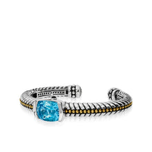 Load image into Gallery viewer, Entwine Blue Topaz Gemstone Cuff Bracelet
