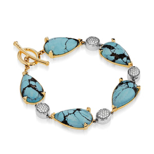 Bermuda Gemstone Bracelet with Pave Diamonds
