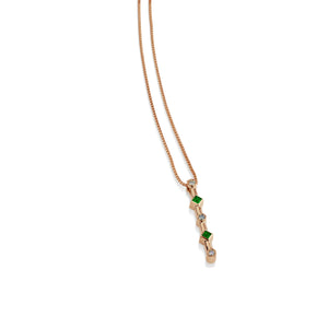 Paloma Rose Gold Emeralds Gemstone and Diamond Pendant