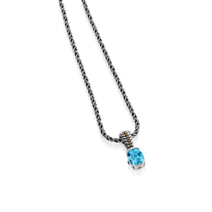 Entwine Blue Topaz Gemstone Small Pendant Necklace