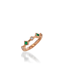 Load image into Gallery viewer, Paloma Rose Gold, Emerald Gemstone and Diamond Ring