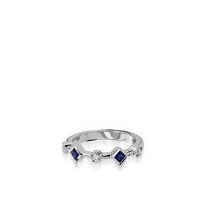 Paloma White Gold, Blue Sapphire Gemstone and Diamond Ring