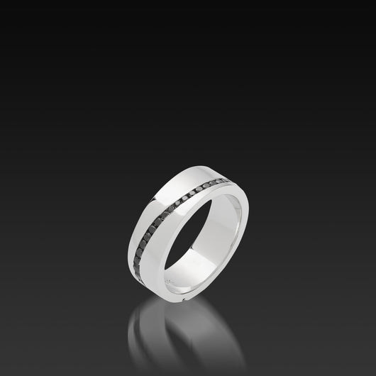 Men's 18 karat white gold Waves Black Diamond Band